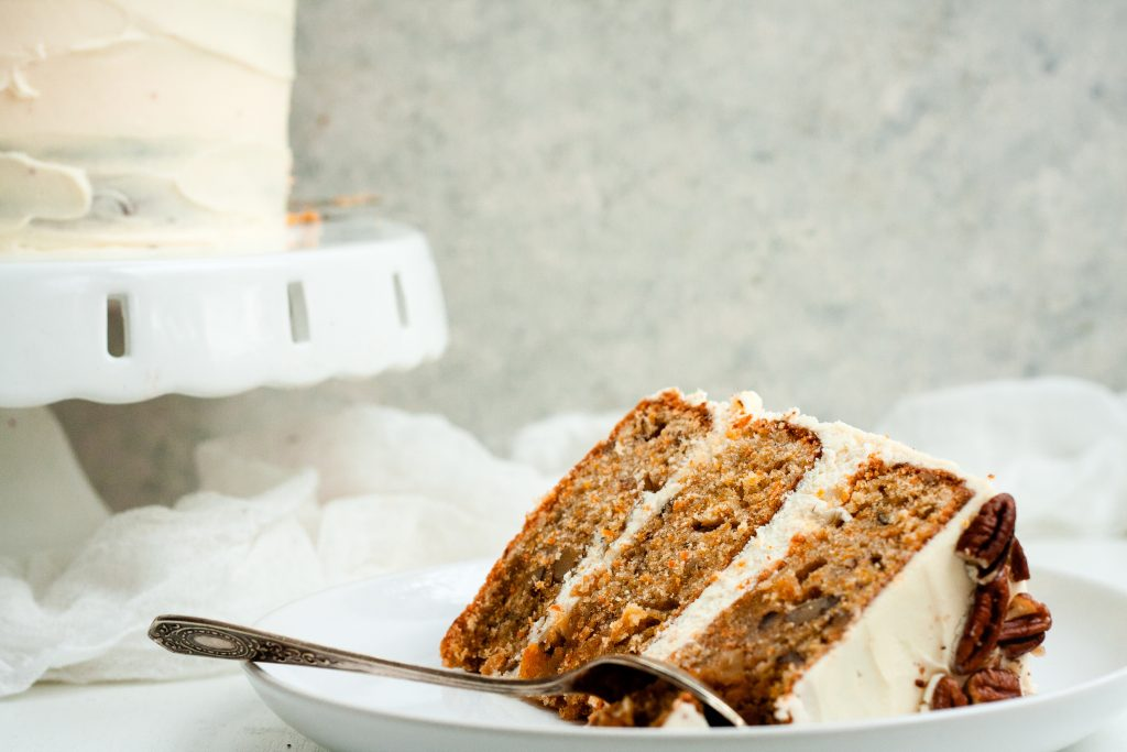 Carrot cake with white chocolate cream cheese frosting